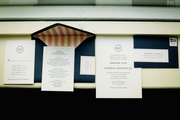 navy, white and pink wedding invitations