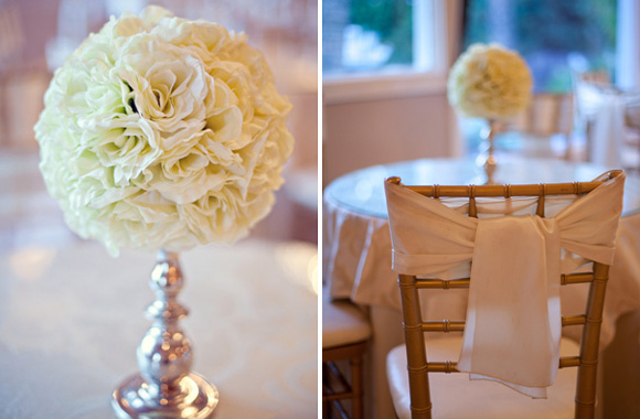 white wedding flowers and white wrapped chair