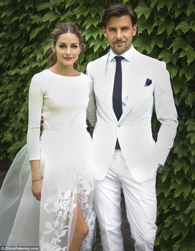 olivia palermo and groom in white