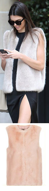 Kendall Jenner is faux fur vest