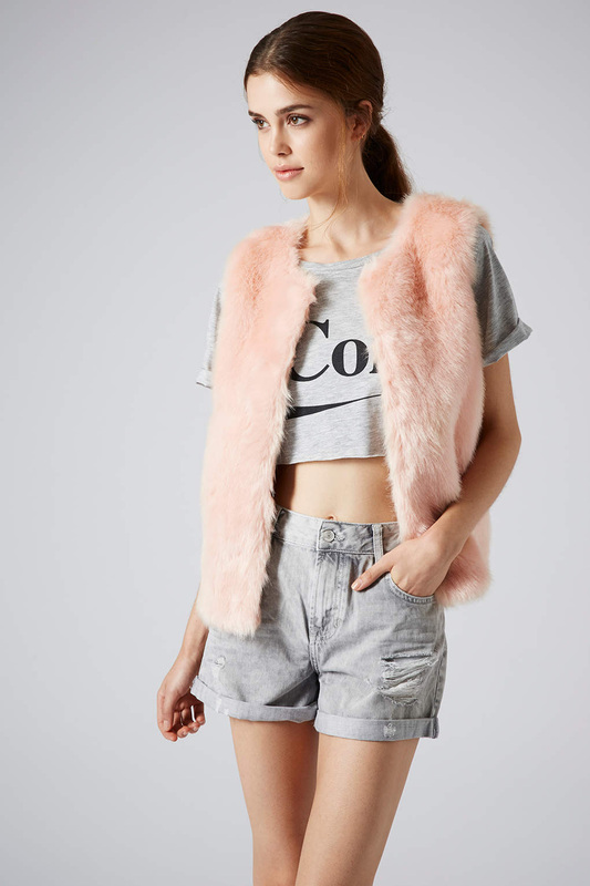 faux fur vest at topshop