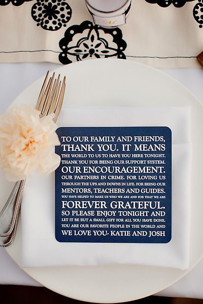 wedding menu with message to family and friends on the back