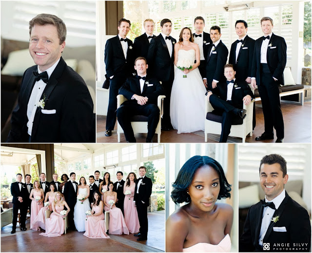 groomsmen in black tuxes and bridesmaids in pink long dresses