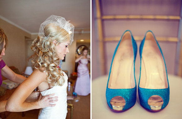 Something blue wedding shoes and birdcage veil