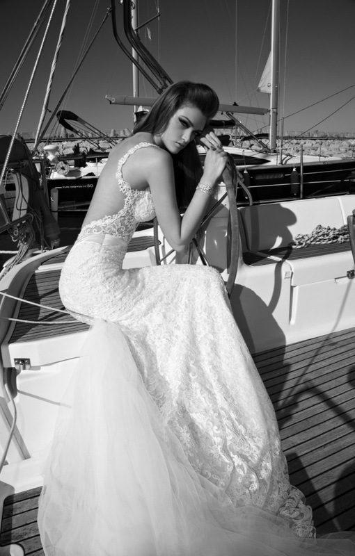 wedding dress backless embroidered lace mermaid dress with tulle train and lace appliques.