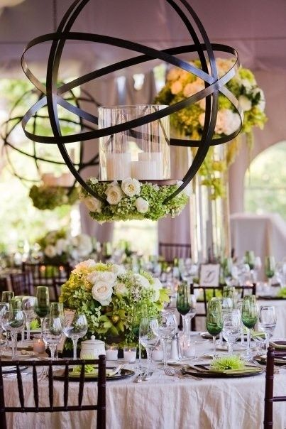 wedding hanging candles with flowers