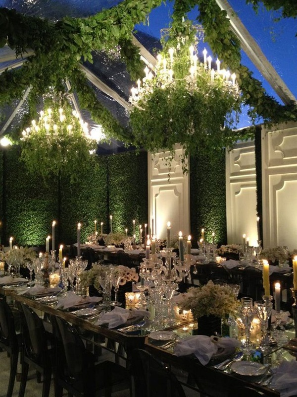 outdoor garden wedding chandeliers