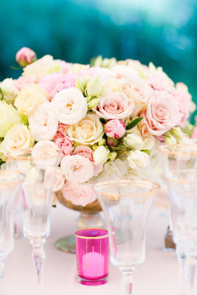 cream, blush and pink ceremony bouquets