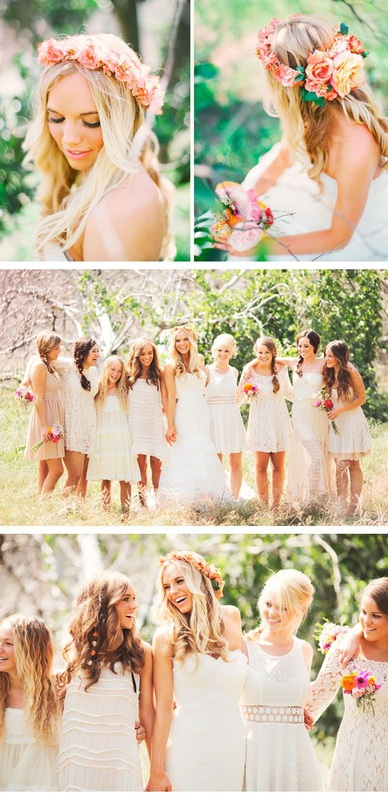 mix-matched white bridesmaid dresses