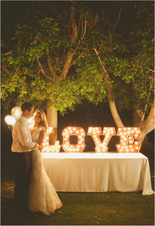 9 wedding lighting trends it girl weddings light up letters junglespirit Choice Image