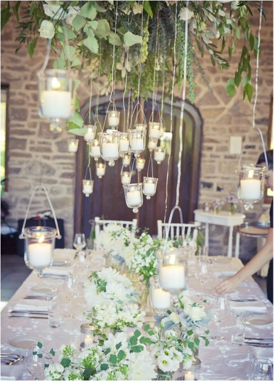 hanging candles at a wedding reception
