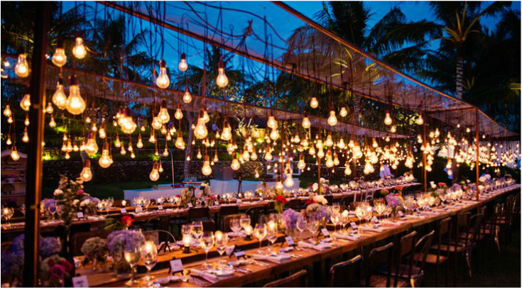 Edison lighting hanging over wedding reception table