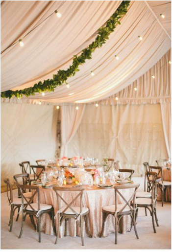 bistro lighting in a wedding tent
