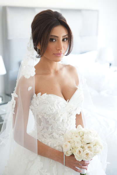 bride in ballgown wedding dress with sweetheart neckline