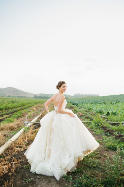 bride in ballgown wedding dress in field