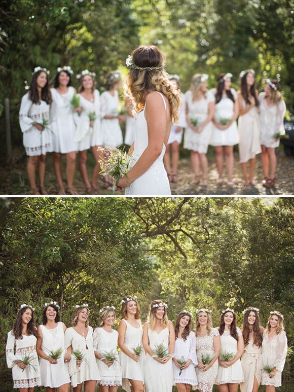boho-chic white bridesmaid dresses