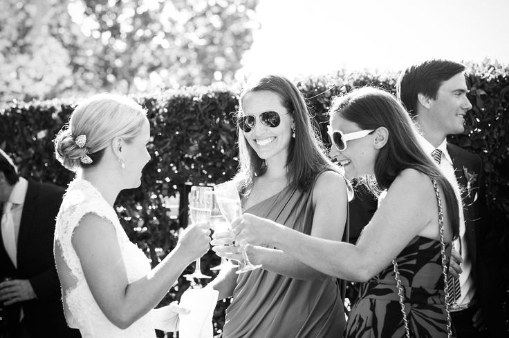 bride cheersing with guests