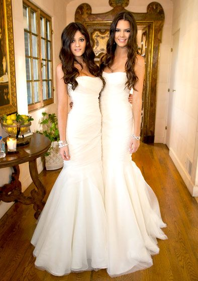 Kendall Jenner and Kylie Jenner is white bridesmaid dresses at Kim Kardashian's wedding
