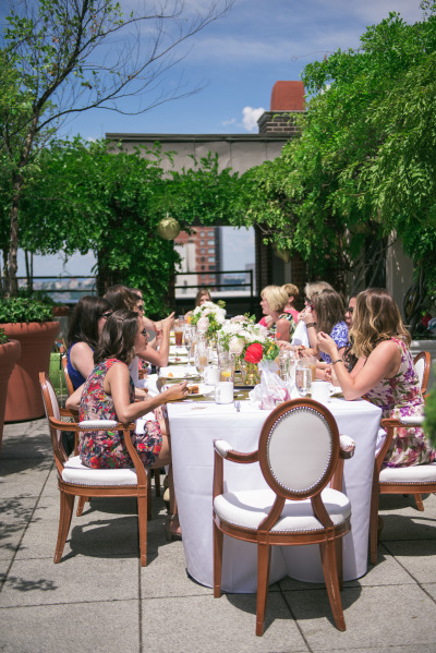 bridal shower at rooftop terrace overlooking city