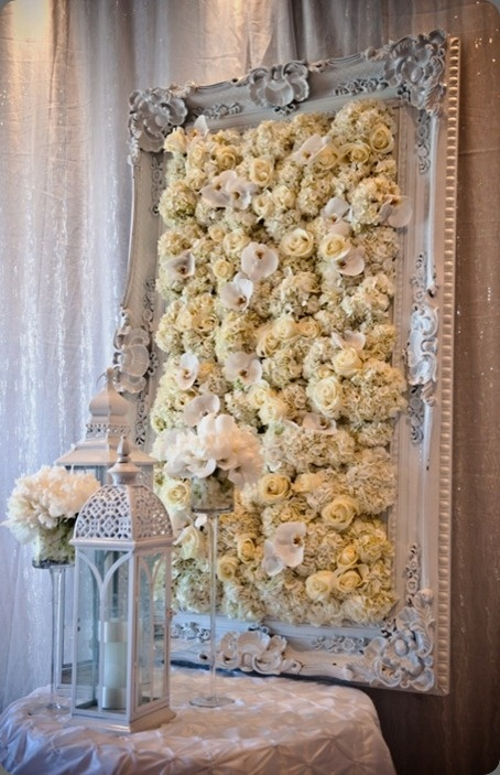 wedding frame covered with real flowers