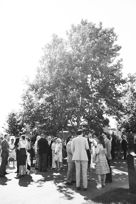 guests on lawn before wedding ceremony