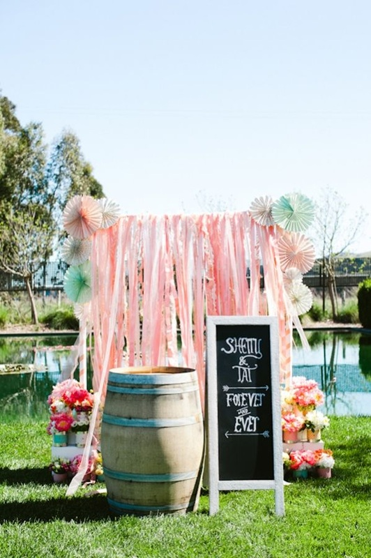 pink streamers wedding photo opt