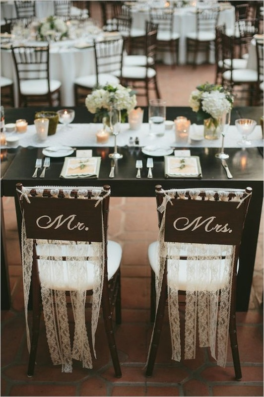 Mr. and Mrs. wedding reception chairs