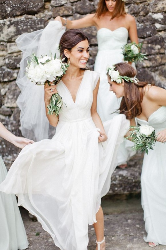 garden white wedding and white bridesmaid dresses