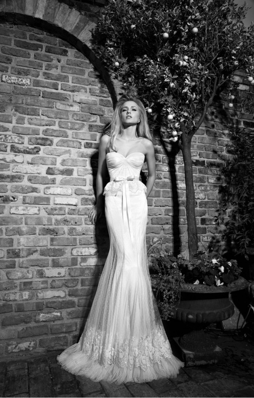 wedding dress dotted tulle corset and skirt, pearl embellished lace trim and pleated ruffles