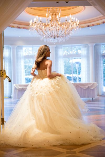 ballgown wedding dress in beautiful reception hall