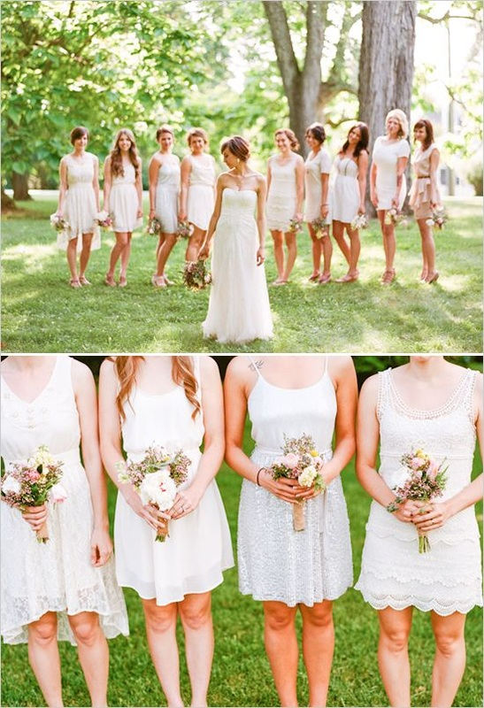 mix and matched white bridesmaid dresses