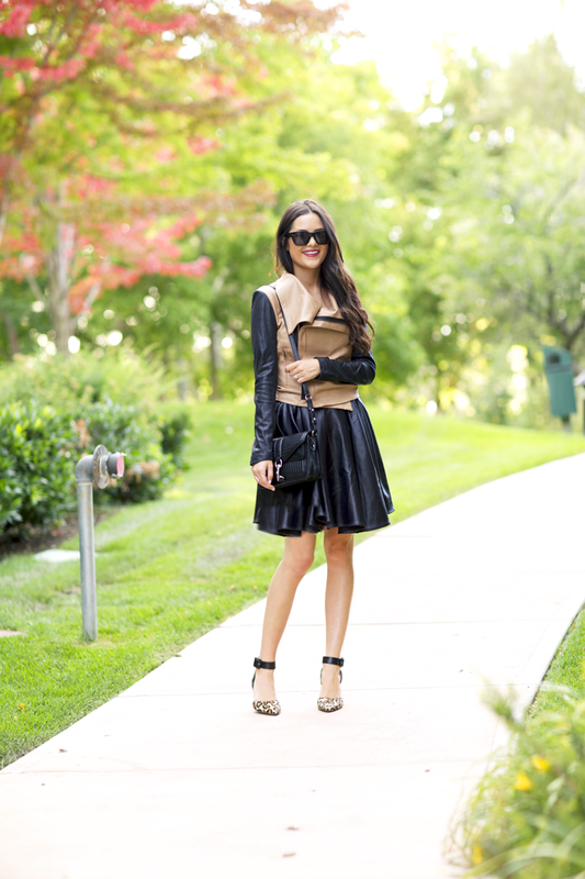 Fashion blogger in: Jacket: SW3 Bespoke via CUSP // Skirt: ElevenParis // Heels: Sam Edelman via CUSP // Bag: Rebecca Minkoff via CUSP  Glasses: Celine // Lips: YSL Glossy Shine #44