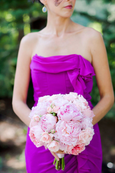 purple bridesmaid dress with pink bridal bouquet
