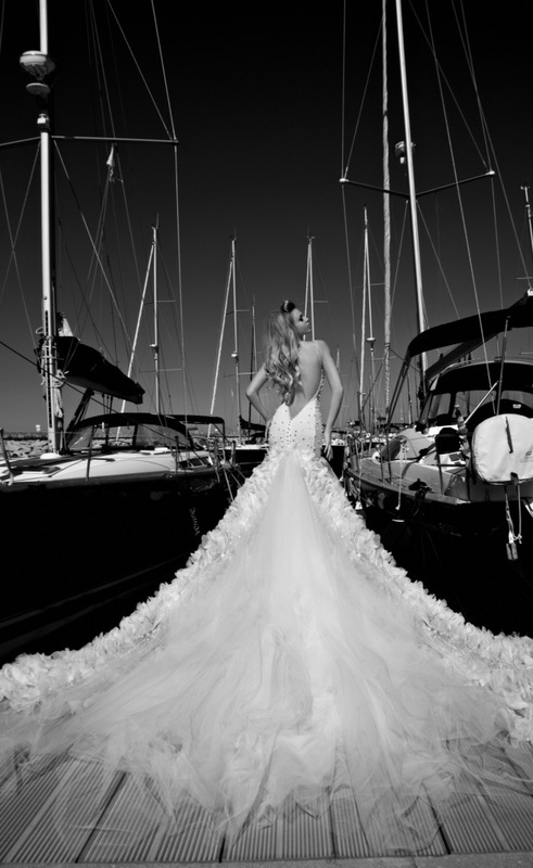 wedding dress sheer net dress, entirely embroidered with pearls and crystals and tulle