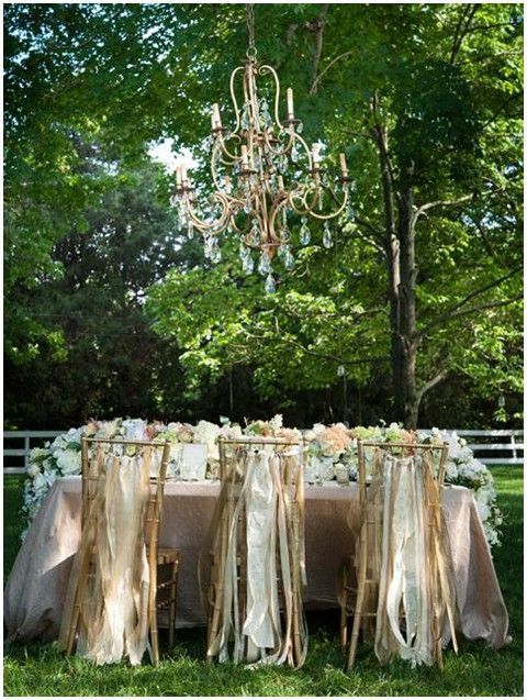 streamers on wedding chairs