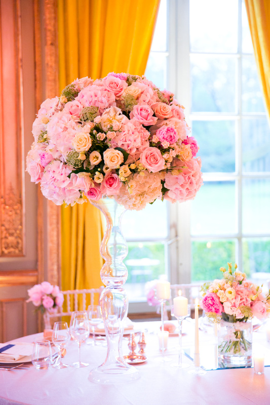pink, green and yellow reception flowers of hydrangeas, roses and peonies