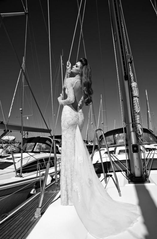 wedding dress backless column dress, beaded light silver lace, jeweled back trim, and embroidered net train