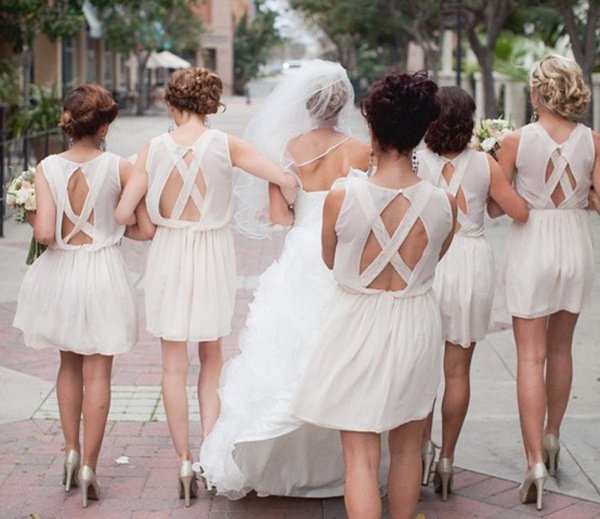 Back of white bridesmaid dresses