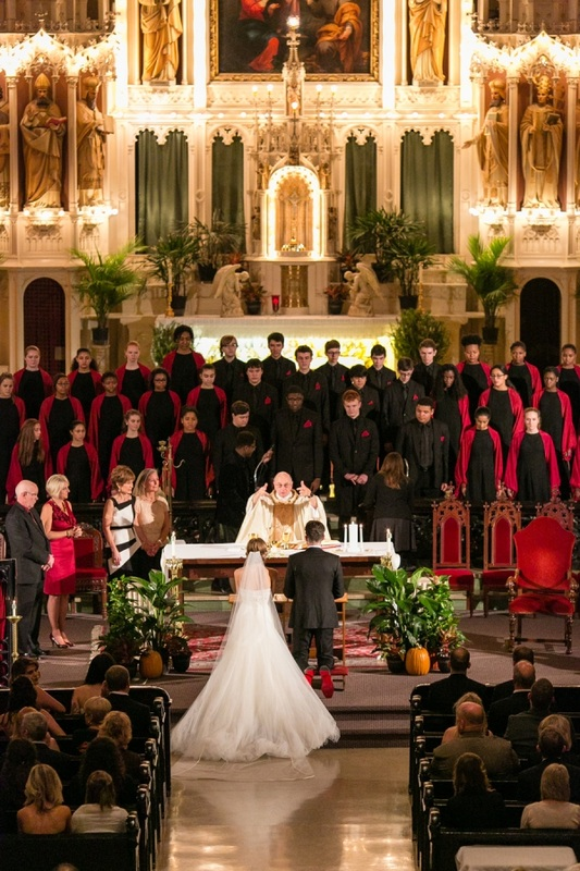 bride and groom and choir