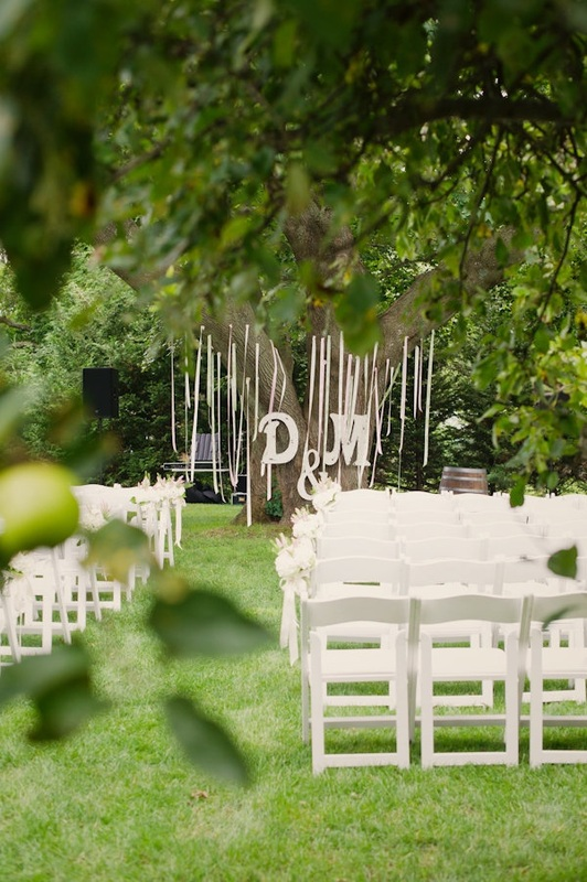 monogram wedding reception with streamers