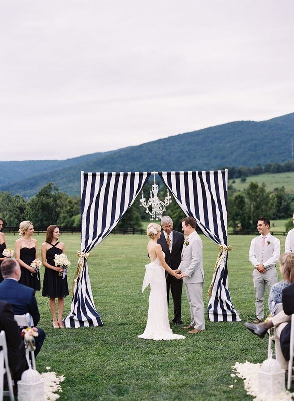 9 reasons to have a nautical wedding it girl weddings wedding arbor with navy stripes junglespirit Gallery