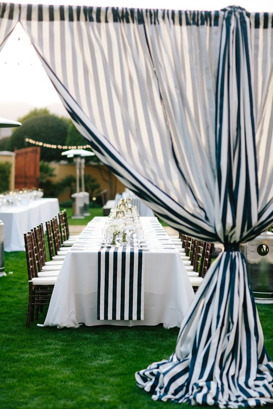 Wedding Navy Stripe Table Runner And Curtins