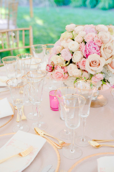 pink linens and large wedding blush and pink bouquet