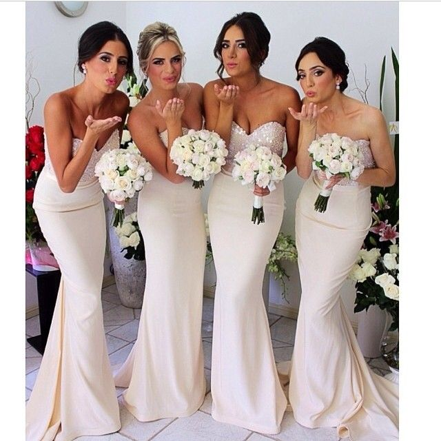 sophisticated white and sparkle bridesmaid dresses