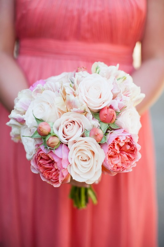 blush and pink bridesmaid bouquet