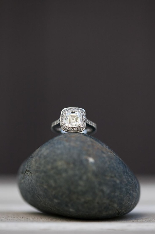 engagement ring on a rock