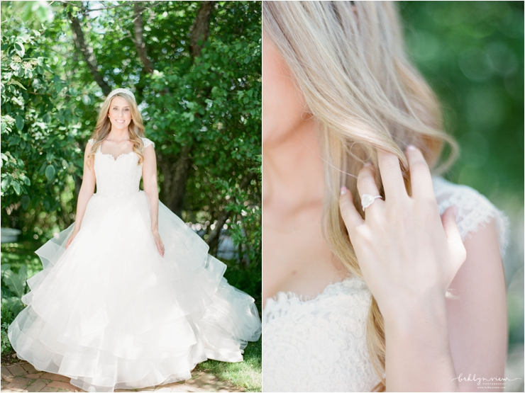 brie in lace lazaro bodice gown with layers of tulle