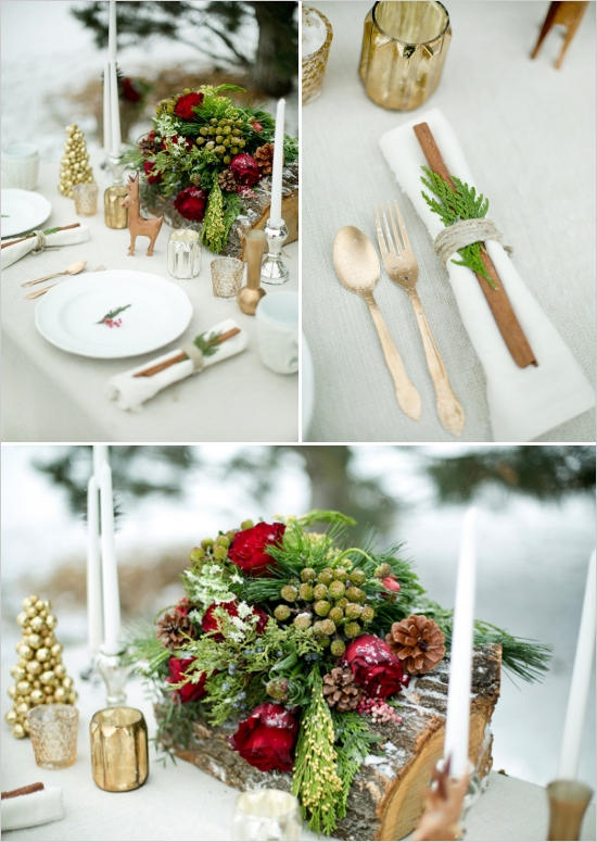 wedding Christmas table and gold silverware and evergreen in napkin ring, decorative wood on the table