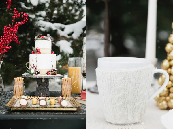 Christmas cake in the snow and mug with a cozy