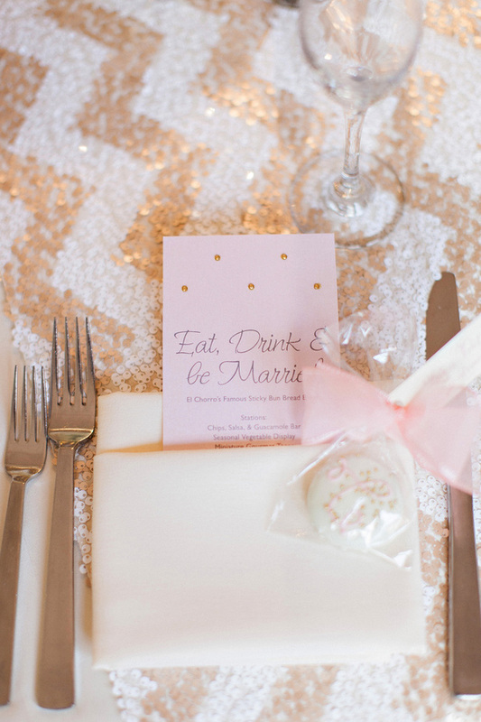 chevron pattern wedding linen, sequin wedding linen and wedding menu